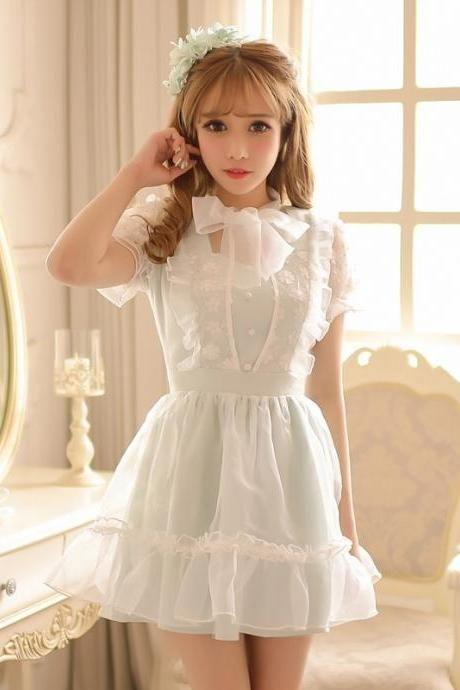 db0fcd7671645 Free Shipping Lolita Kawaii Lace Flowers Bow Collar Dress LK16051302 ...