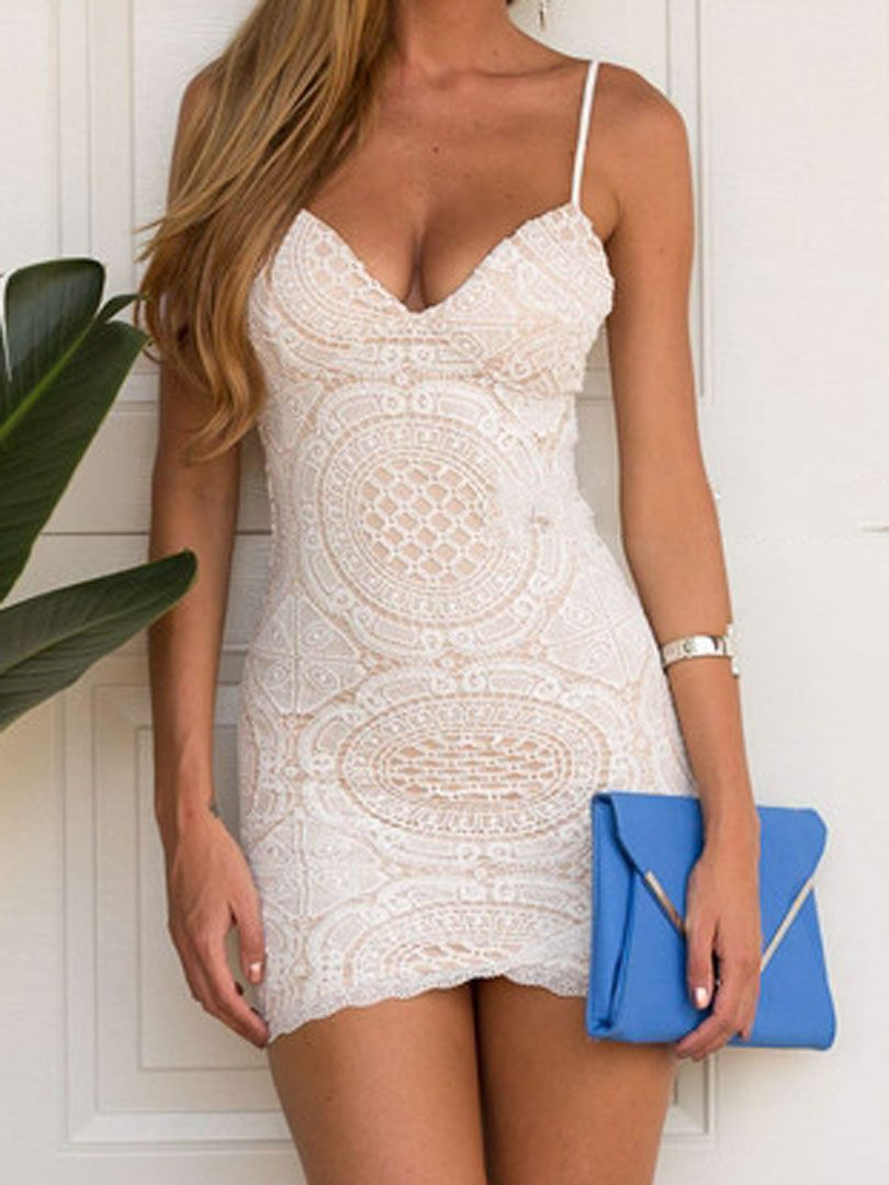 3f729674323 White Lace Spaghetti Strap Bodycon Dress