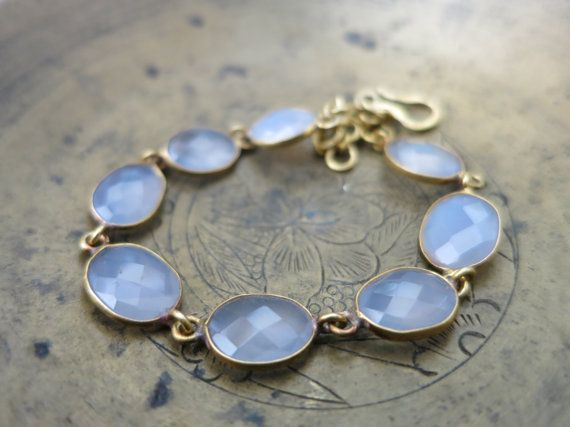 """Lavender Chalcedony and Gold """"Gia"""" Bracelet"""