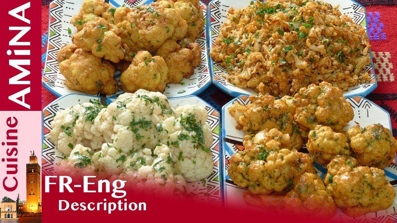 سلطات مغربية بالشيفلور القرنبيط بأربع طرق Salades Marocaines Youtube Cuisine Food Cauliflower