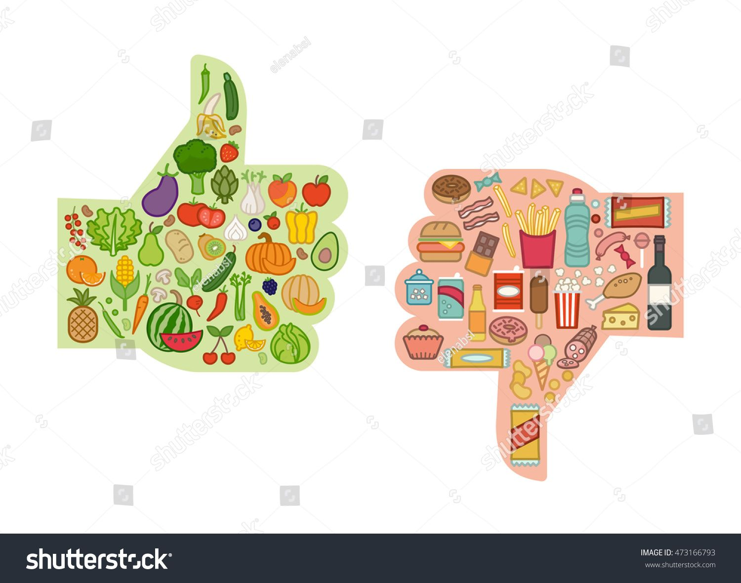 Healthy Fresh Vegetables And Unhealthy Junk Food