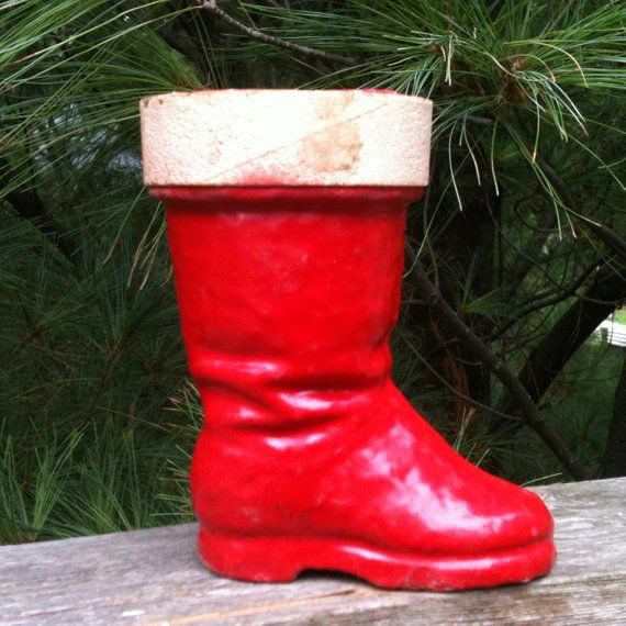 Paper Mache Santa Boot Vintage Red Christmas 1940 S Old Fashioned Candy Container Antiq