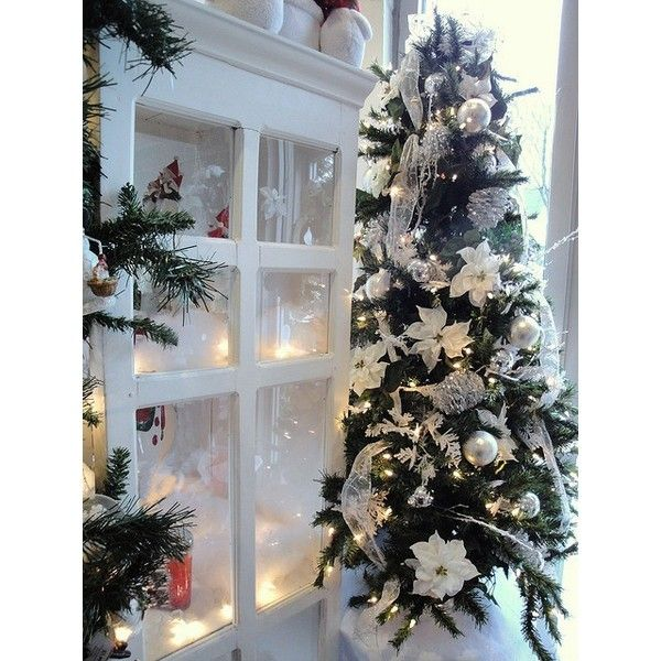 Christmas Tree with white ❤ liked on Polyvore featuring home, home decor, holiday decorations, white home accessories and white home decor
