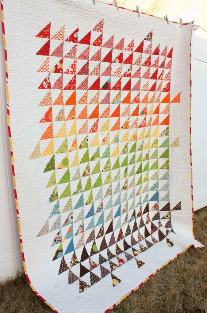 Triangle Quilt - would also be beautiful in shades of all one ... : one color quilts - Adamdwight.com