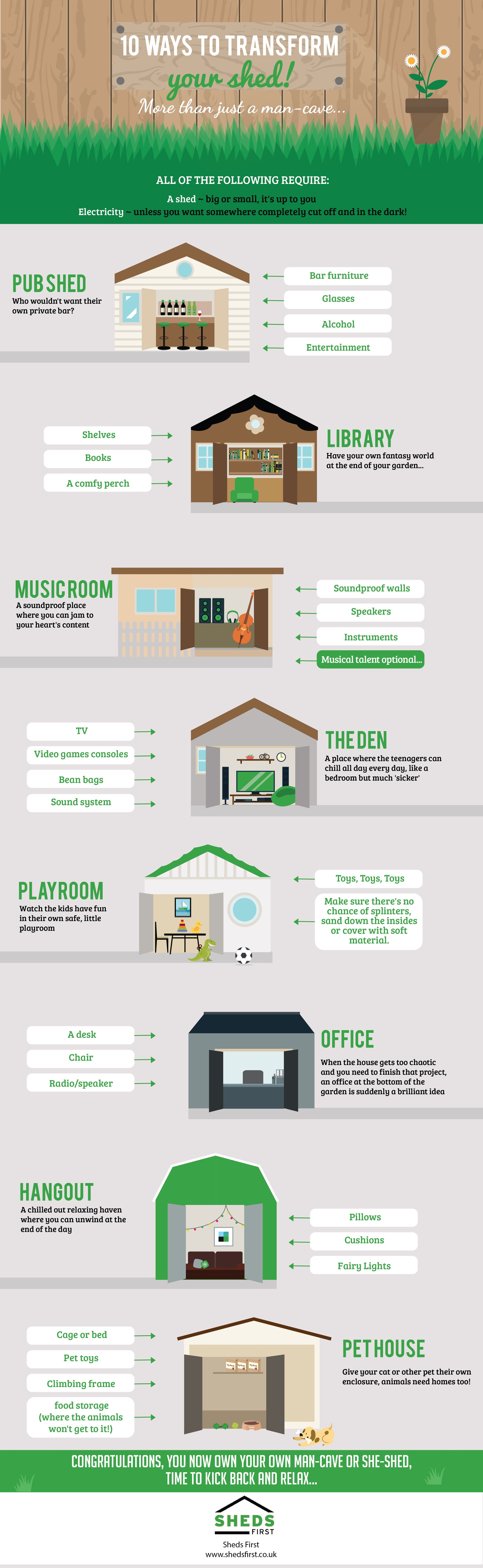 10 Ways to Transform Your Shed infographic