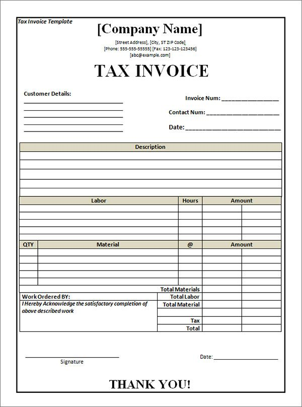 Tax Invoice Template Word 8 Pinterest Template - download invoice