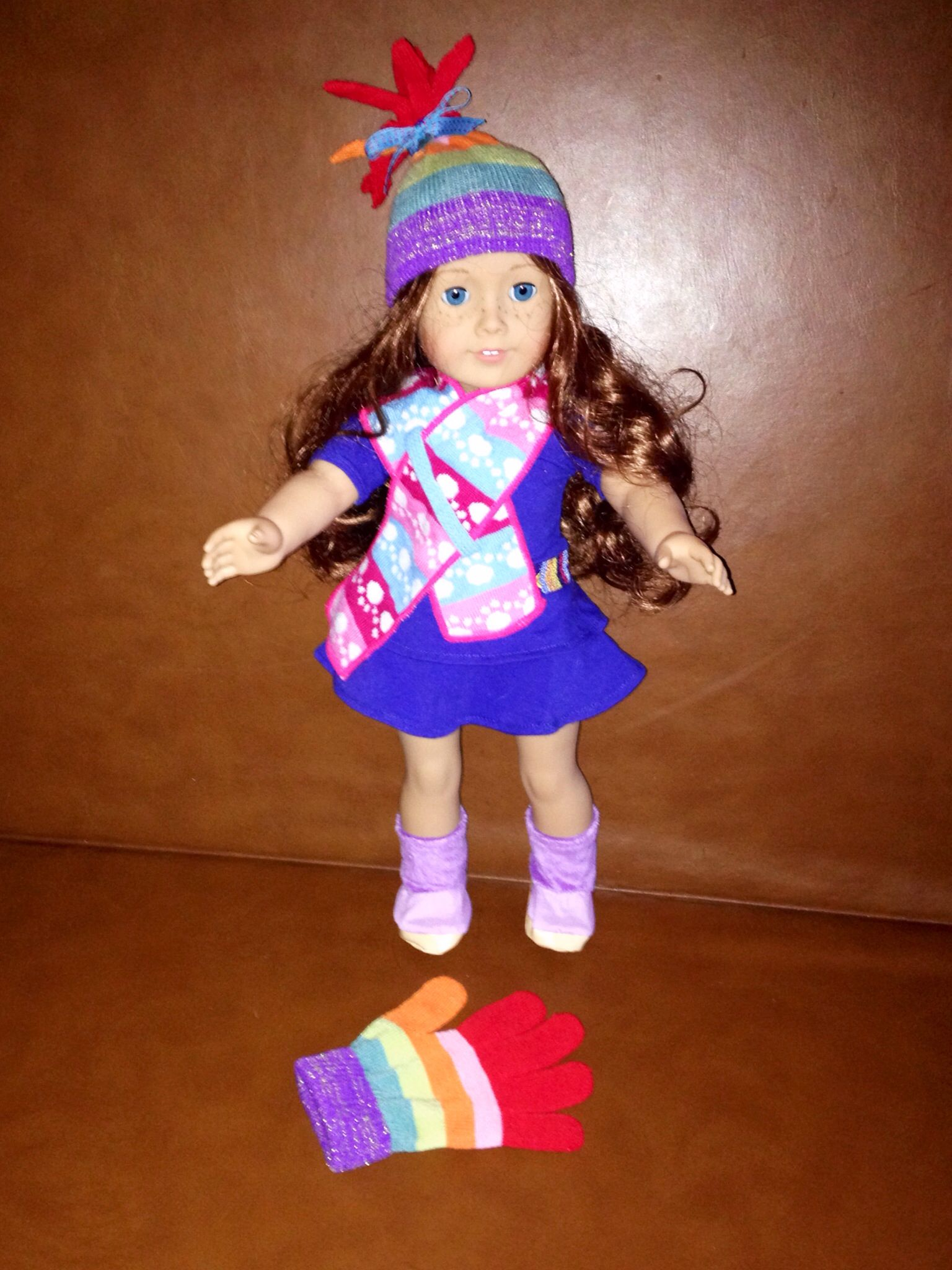 Five Minute, No Sew American Girl Doll Upcycled Hat Made -2549