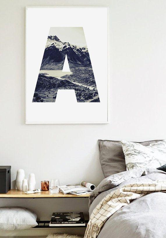 Abstract A Letter Landscape 50x70 cm - Scandinavian Poster - Abstract Art Print - Abstract Nature A Letter - Affiche Scandinave - Printable