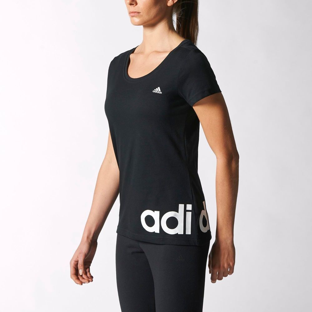 Adidas Women Short Sleeve Training Sport New Essentials Logo Tee S88296  Black #Adidas #BasicTee