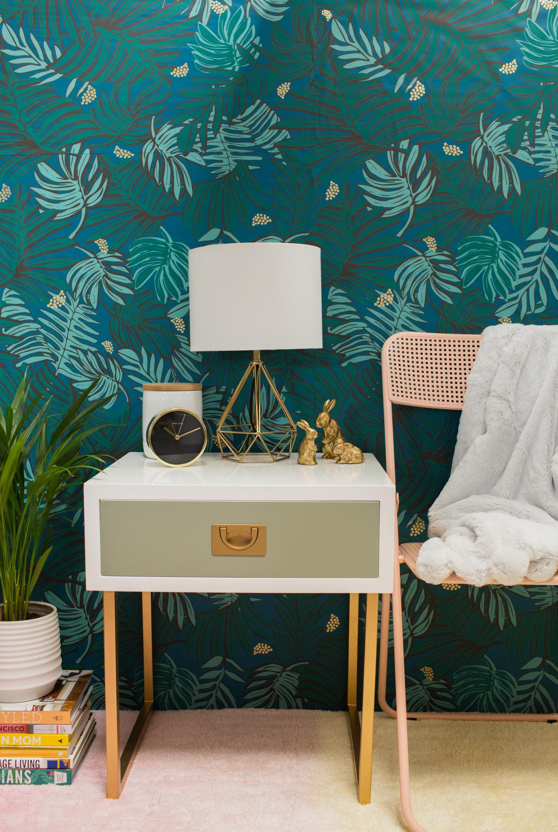 White, grey, and gold side table goes with everything