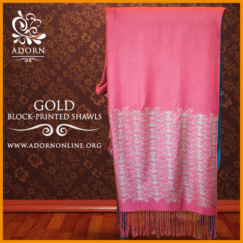 Gold blockprinted shawl in watermelon. Rs. 2500