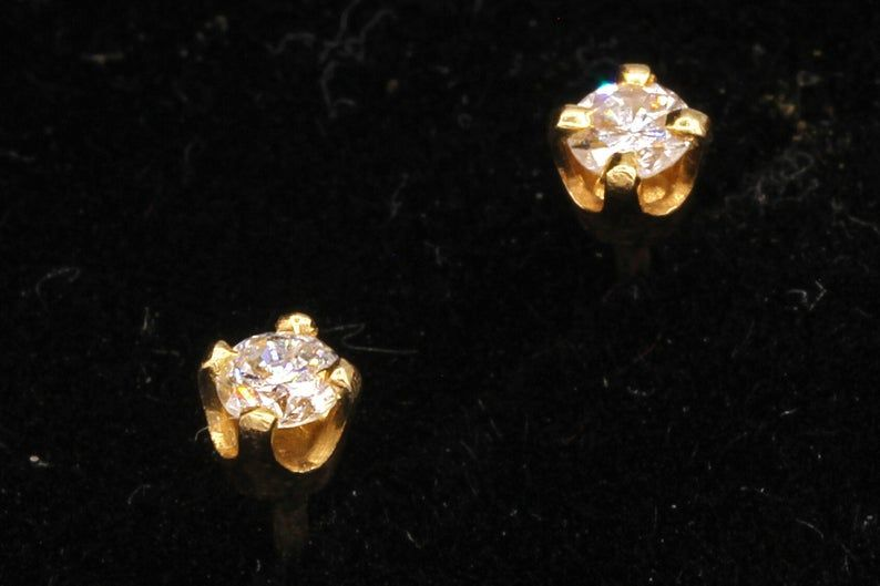Delicate Earrings Friendship Day Gift Natural Diamond Designer Tiny Stud Earrings Solid 14k Yellow Gold Minimalist Handmade Fine Jewelry