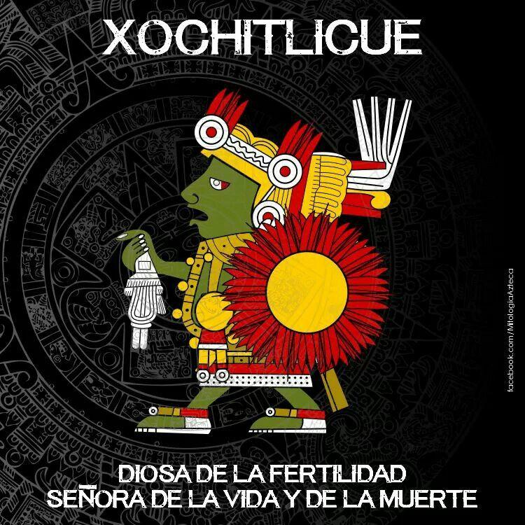 Xochitlicue Diosa De La Fertilidad Señora De La Vida Y De La Muerte Símbolos Aztecas Dioses Aztecas Dioses Prehispanicos