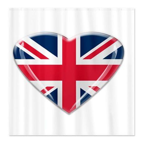 Heart Shaped Union Jack Shower Curtain