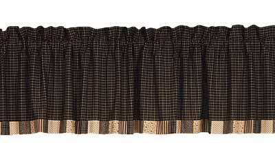 Kettle Grove Bordered Valance By Nancys Nook The Collection Features A Tiny Plaid Of Black And Ecru With Coordinating Blocks Prints In