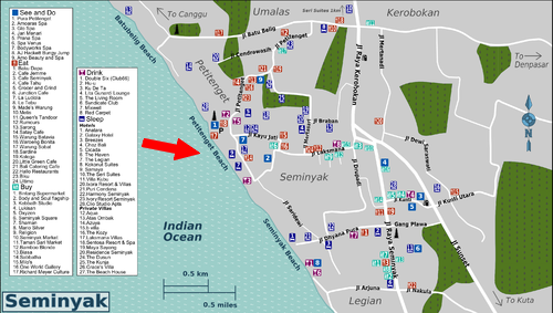 Location Map of Petiten beach Pantai Petiten Seminyak Bali