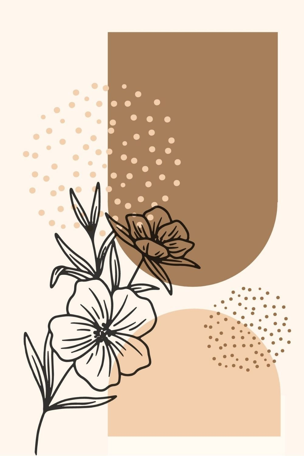 Wall digital print in boho style with abstract shapes and minimalist flowers