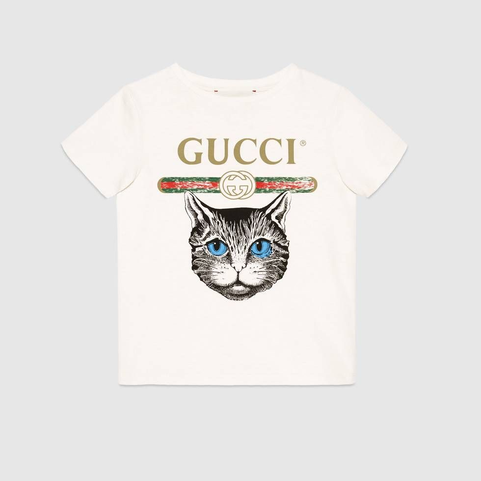b22ba5dbe Shop the Children's Gucci logo T-shirt with Mystic Cat by Gucci. null