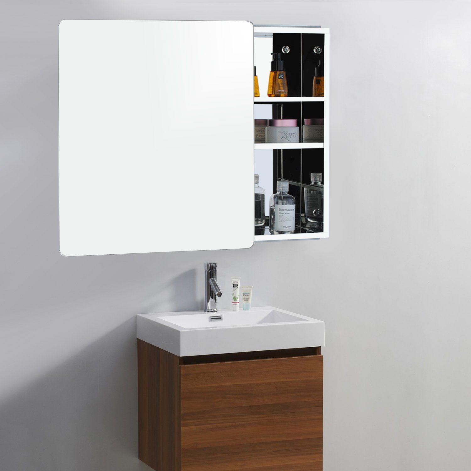 Lovely Sliding Mirror Bathroom Cabinet