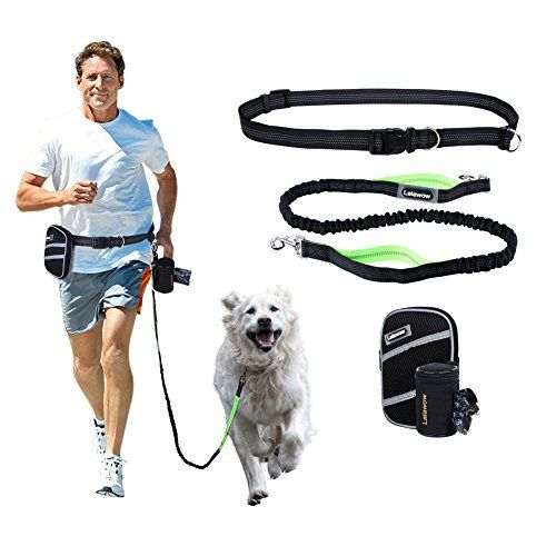 Lalawow Hands Free Dog Leash + Pouch + Waste Bag Dispense...