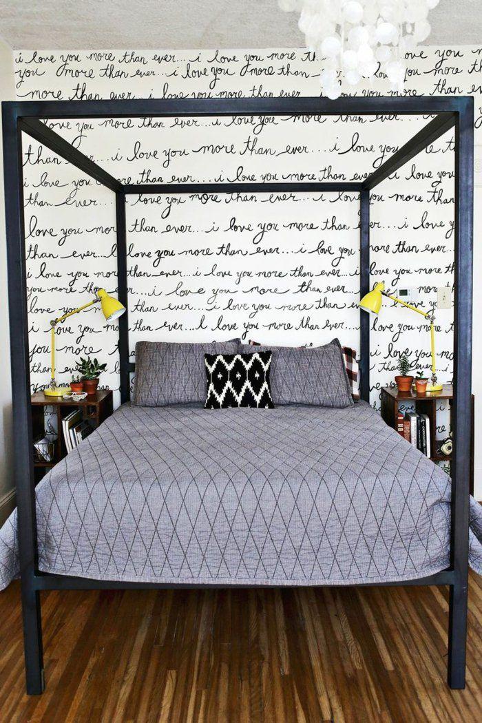 Wandgestaltung Ideen Diy Handschrift Motiv Selber Gestalten Doppelbett  Betthimmel Schlafzimmer