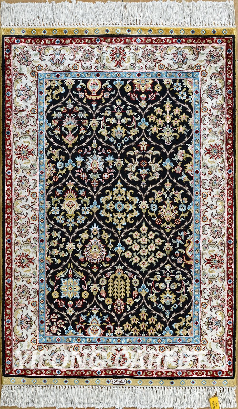 Black Persian Rug Oriental Turkish Carpet Silk Tabriz
