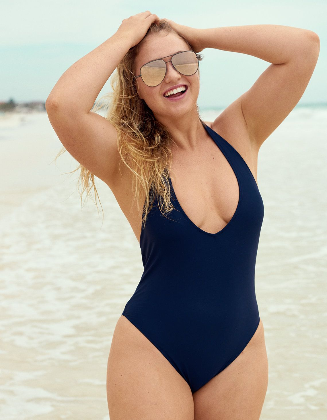 dbad8e0345ce8 Image for the product Plunging One Piece Swimsuit, Iskra Lawrence, Mens  Outfitters, Plus