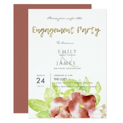 RUST RED ORANGE INK WATERCOLOUR FLORAL ENGAGEMENT CARD - formal - engagement card template