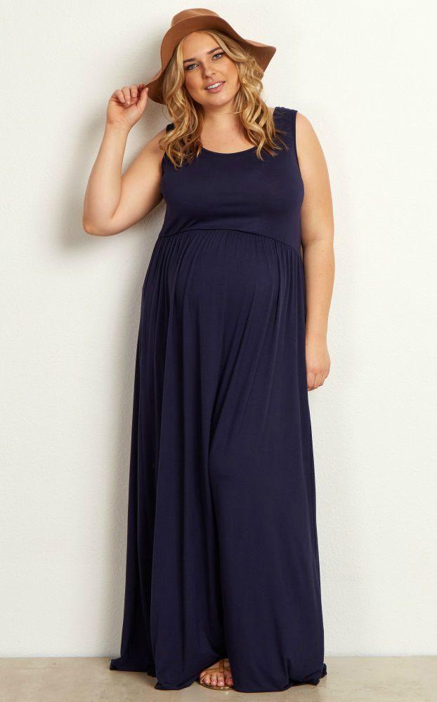 Navy Basic Sleeveless Plus Maxi Dress