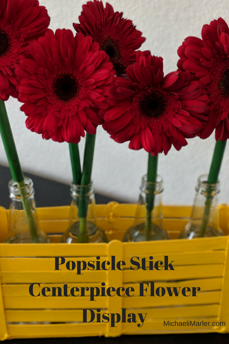 Popsicle Stick Flower Centerpiece Display Flower Centerpieces Stick Centerpieces Flower Display