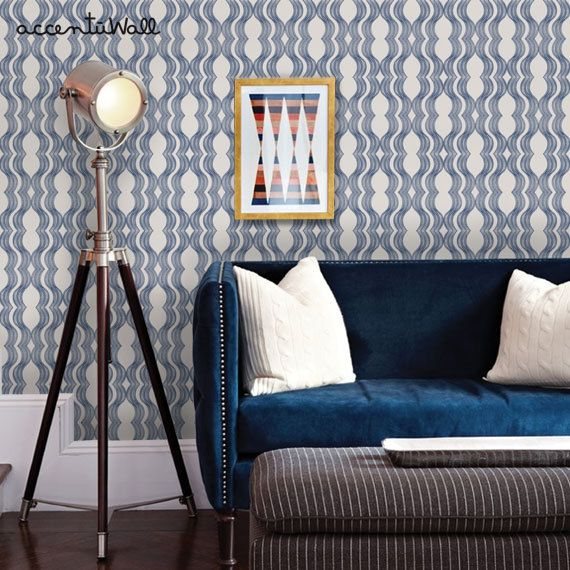 Wave Navy Peel & Stick Fabric Wallpaper Repositionable