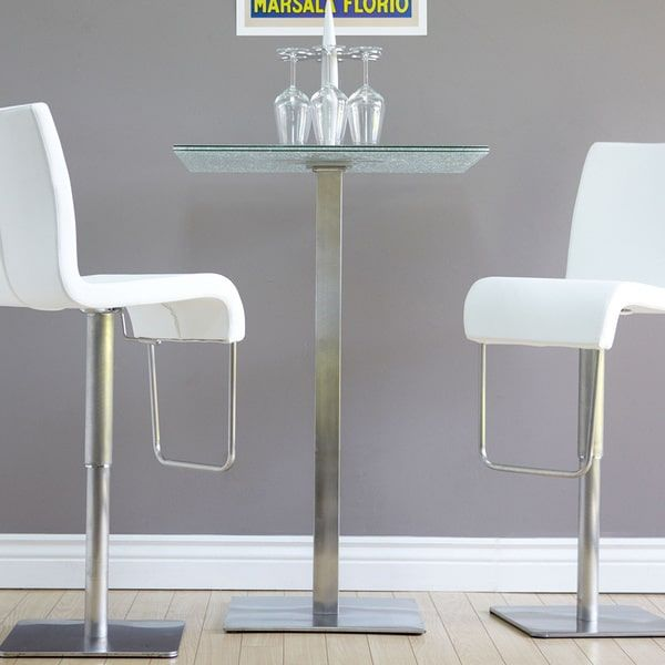 Jenna Square Crackle Glass Pub Table by Matrix