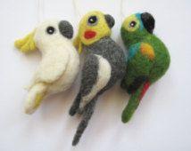 3 needle felted Parrots, Blue-fronted Amazon + Cockatiel + Cockatoo, Parrot Tree Decoration, Bird Sculptures (set of three)