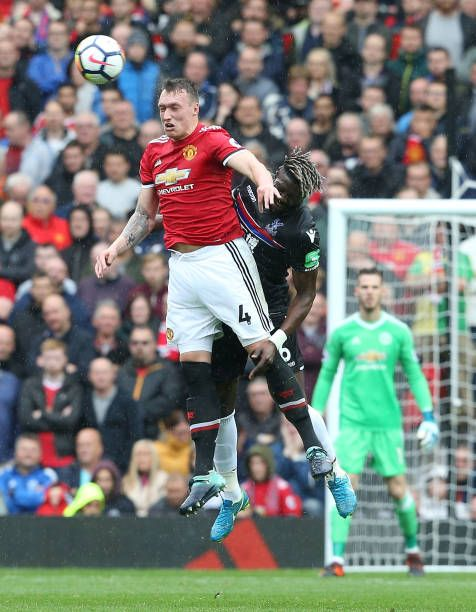 Phil Jones Of Manchester United In Action With Bakary Sako Of Crystal Palace During The Premier League Match Between Manc Manchester United Manchester The Unit