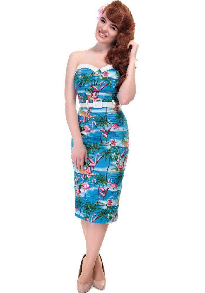 8962692b6b82b9 Monica Flamingo Island Wiggle Pencil Dress