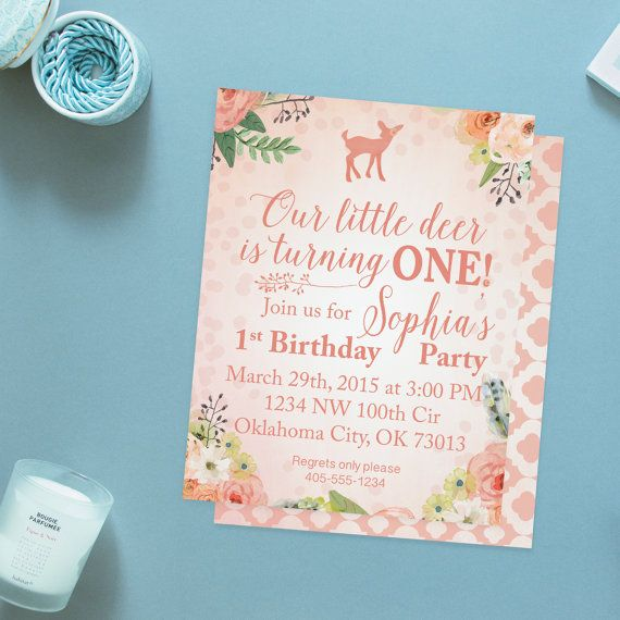 Our Little Deer Birthday Party Invitations by GilliGirlDesigns Our - fresh invitation card for first birthday of baby girl