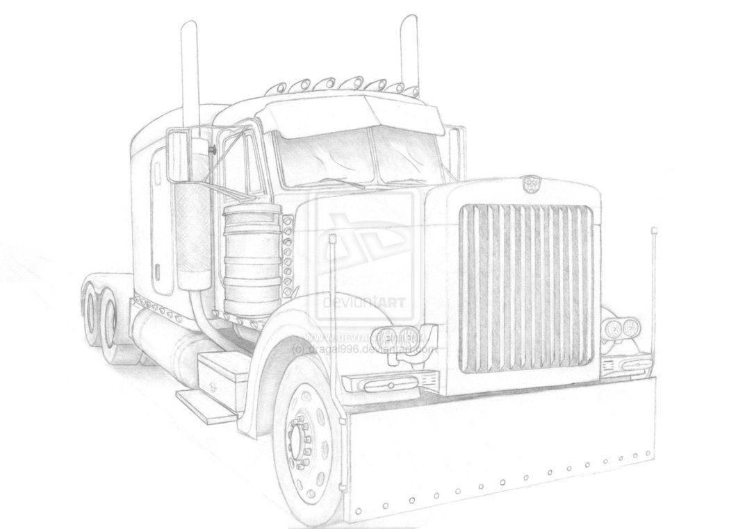 peterbilt semi trucks coloring pages | Pencil Drawings of Semi Trucks | Pin Truck Pencil Drawing ...