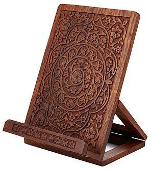 Hand Carved Wooden Cookbook Stand Love Carved Wood Stuff Afflink 文具