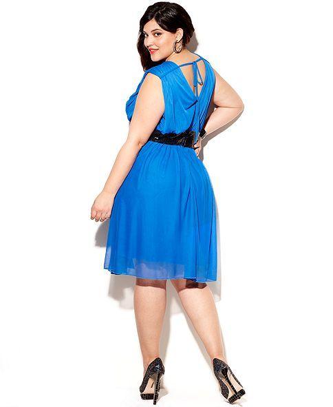 Trixxi Plus Size Dress Sleeveless Sequin A Line Junior Plus Size