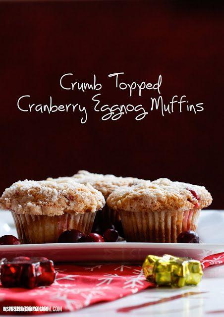 Crumb Topped Cranberry Eggnog Muffins #fall