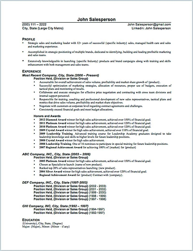The Salesperson Resume Can Be A Good Start When You Are Starting To Have A Great Skill On The Way Sales Resume Examples Sample Resume Templates Resume Examples