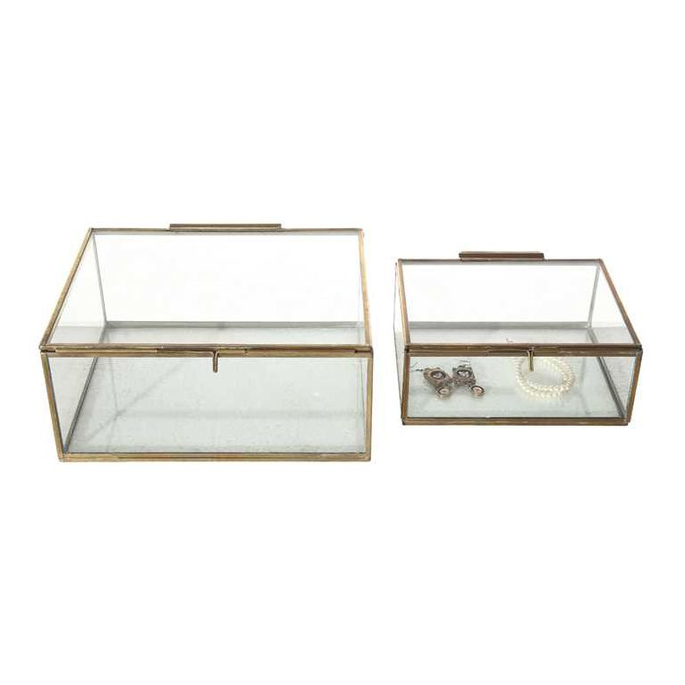Antiqued Brass & Glass Exhibition Boxes Set of 2