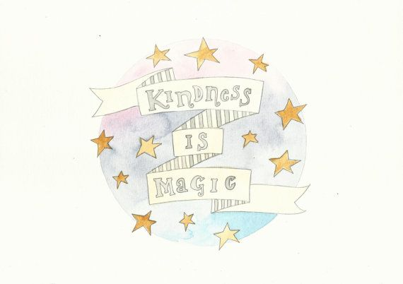 Kindness Is Magic Quote Blue Pink Stars by FeatherAndSixpence, £22.00