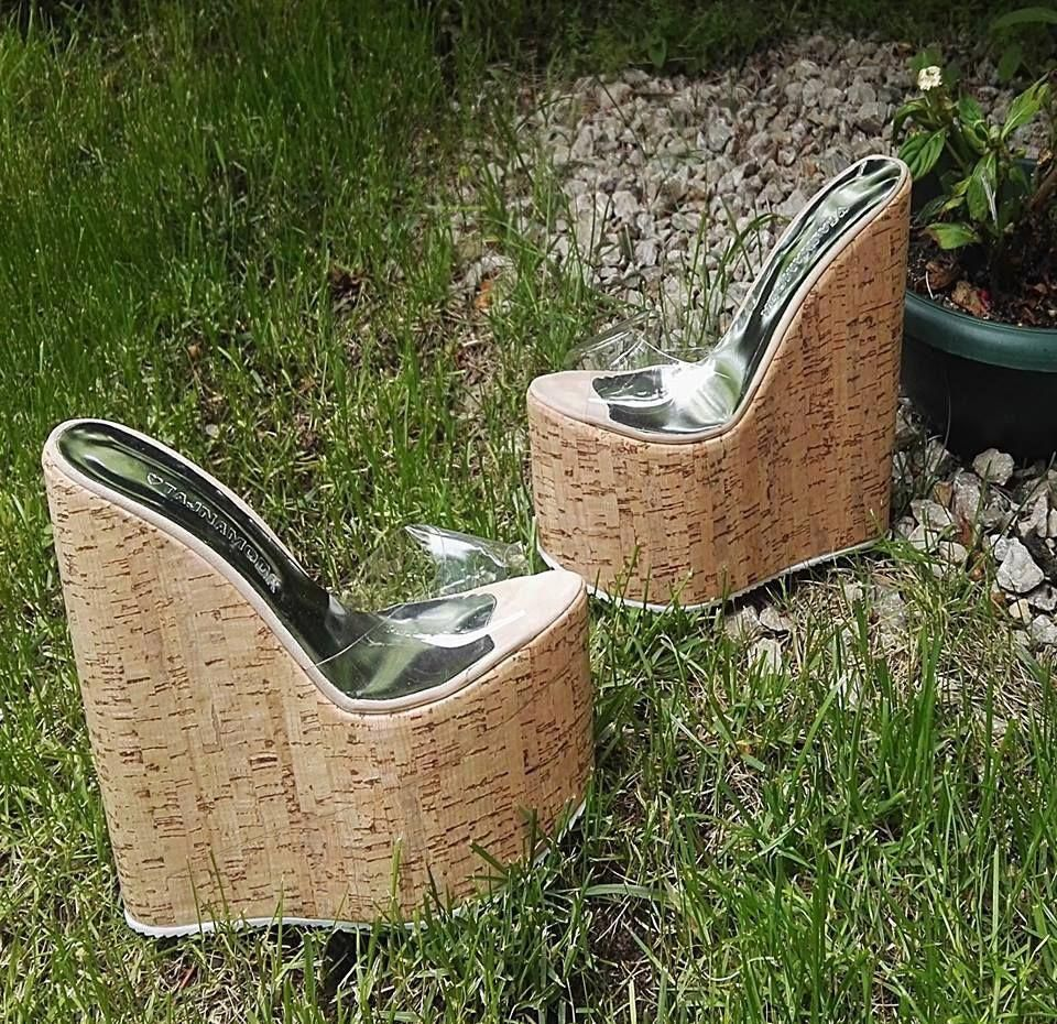 blue cake stand clear heel mules