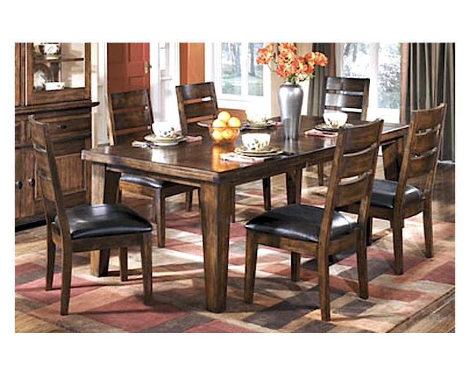 Rustic 7 Piece Dark Brown Dining Set Sam Levitz Furniture