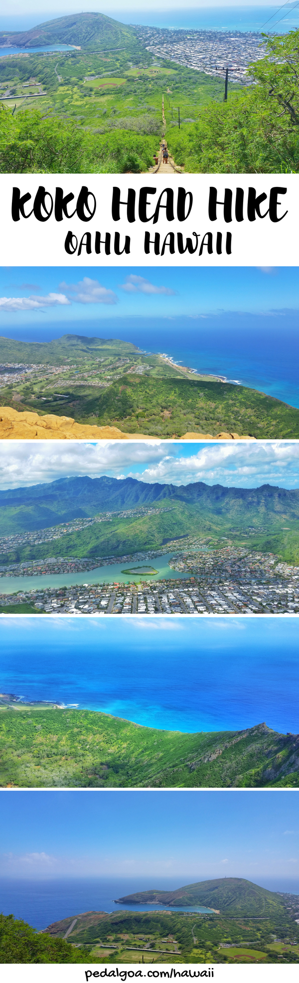 Koko Head Hike: Oahu, Hawaii, USA. For Oahu hikes during your Hawaii vacation, have a look at the Koko Head hike! This railway hiking trail is a top travel bucket list item for hiking in Hawaii USA and things to do on Oahu on Hawaii vacation. This hike is easy to get to from Waikiki and Honolulu, and there's snorkeling nearby at Hanauma Bay. Outdoor travel destinations and activities for budget adventures! Put hiking gear and outfits to wear on the Hawaii packing list!