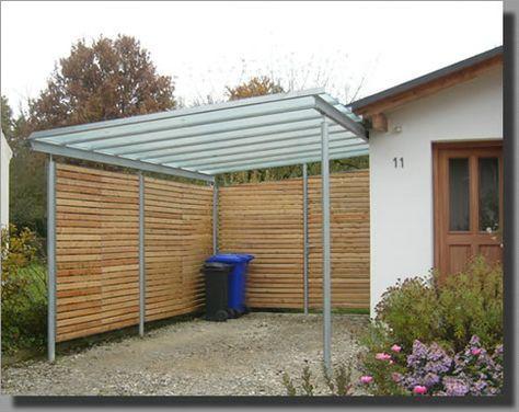 carport aus stahl und hellem holz in ein carport kann ein schuppen oder ein dachboden integriert. Black Bedroom Furniture Sets. Home Design Ideas