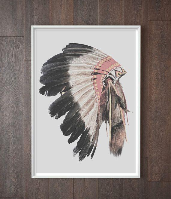 American Indian Headdress Art Decor Boho Modern Bohemian Artwork Native
