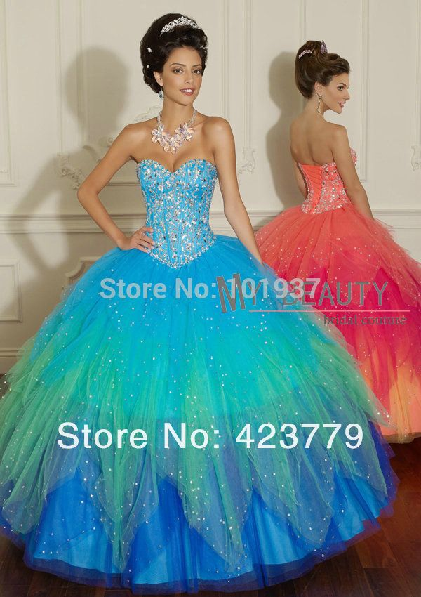 4460624a6d1 Find More Quinceanera Dresses Information about Sparkly vestidos de 15 anos Sweetheart  Beaded Multi Color Ball