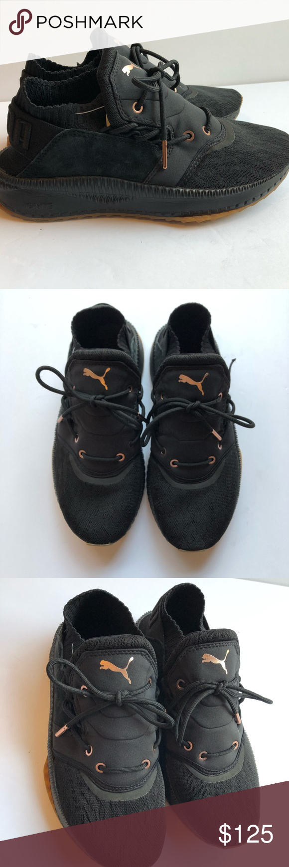 4c9ba1a7b73 puma tsugi shinsei Black rose gold shoes Size 9 nwob One small flaw  pictured. The